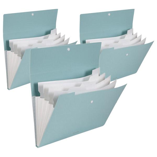 심플 도큐먼트 파일백 5분류 72455, 파스텔그린, 3개