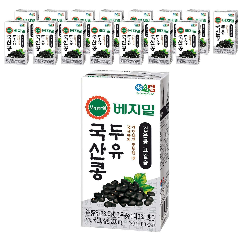 베지밀 국산콩 두유 검은콩 고칼슘, 190ml, 16개