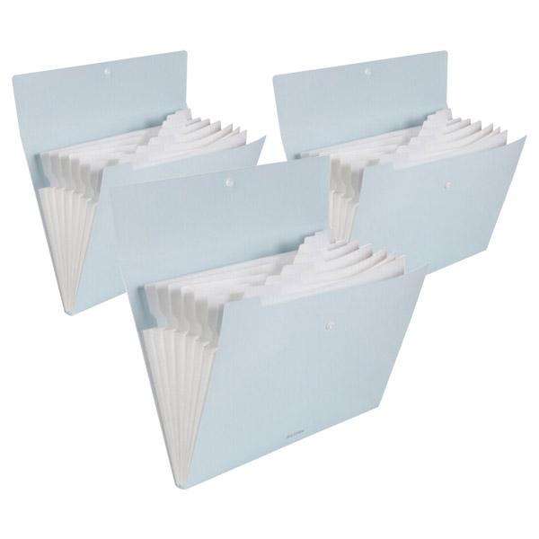 심플 도큐먼트 파일백 8분류 72456, 파스텔블루, 3개