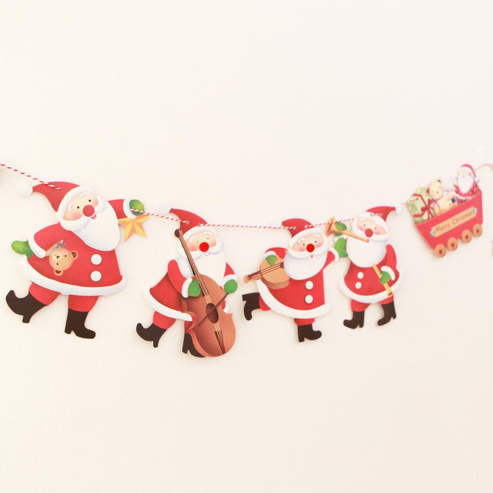 더솜씨 크리스마스 산타악단 가랜드 2p, 혼합 색상