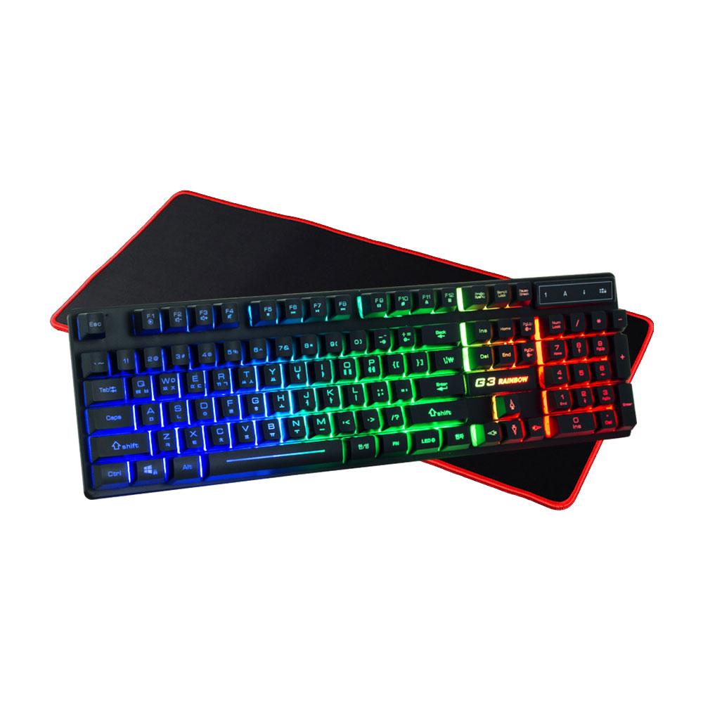 지클릭커 G3 Plus 레인보우 LED 키보드 + 키보드 패드, 단일 상품, 단일 색상
