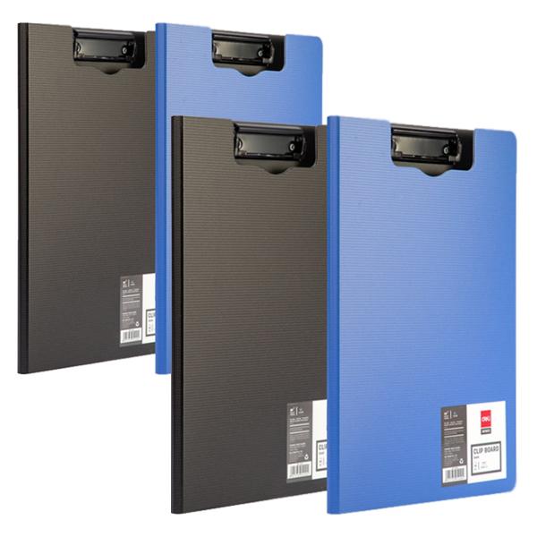델리 커버 클립보드A4 E5440, 블랙, 블루, 2개