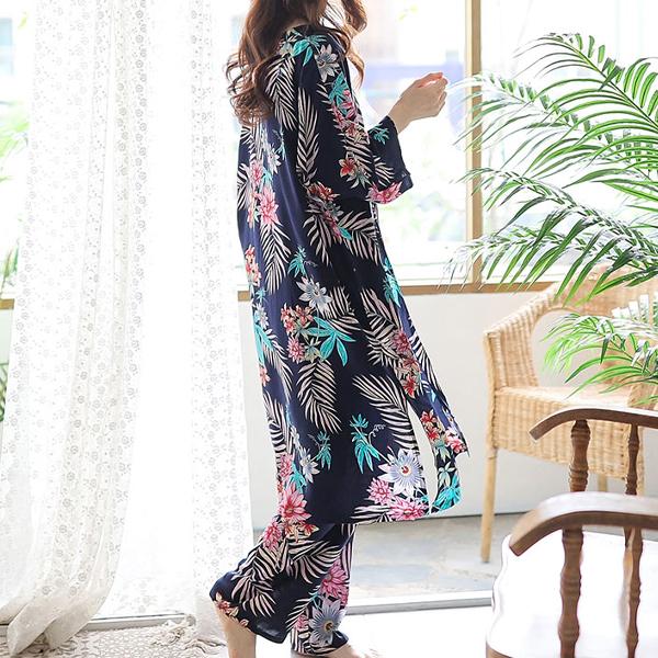 레씨 여성용 YGB4343 포레스트 로브가운 3PC 잠옷