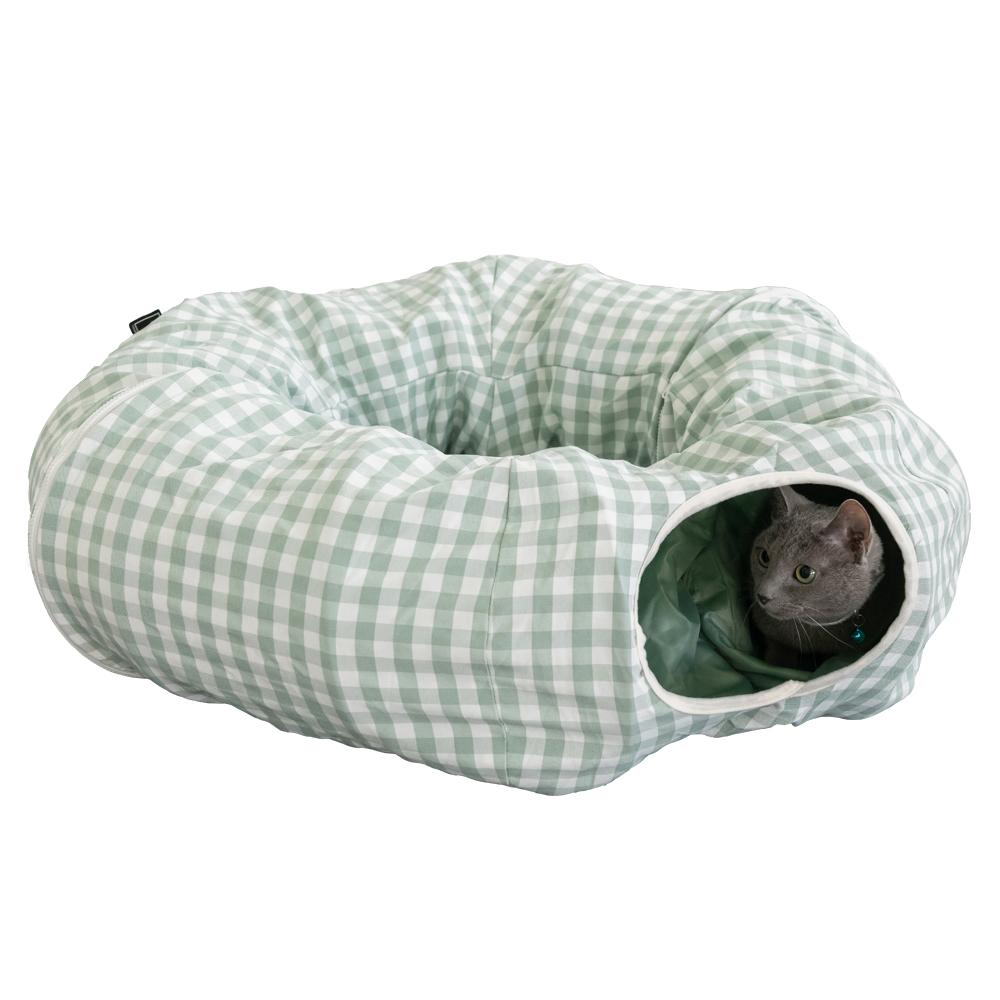 세븐펫 숨숨터널 고양이 터널 하우스 장난감, 그린, 1개