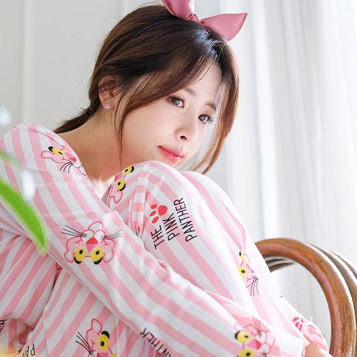 여성용 핑크팬더 피치기모잠옷 상하의세트
