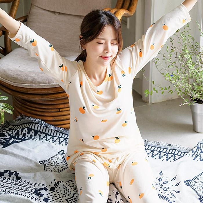 여성용 상큼오렌지 피치기모잠옷 상하의세트