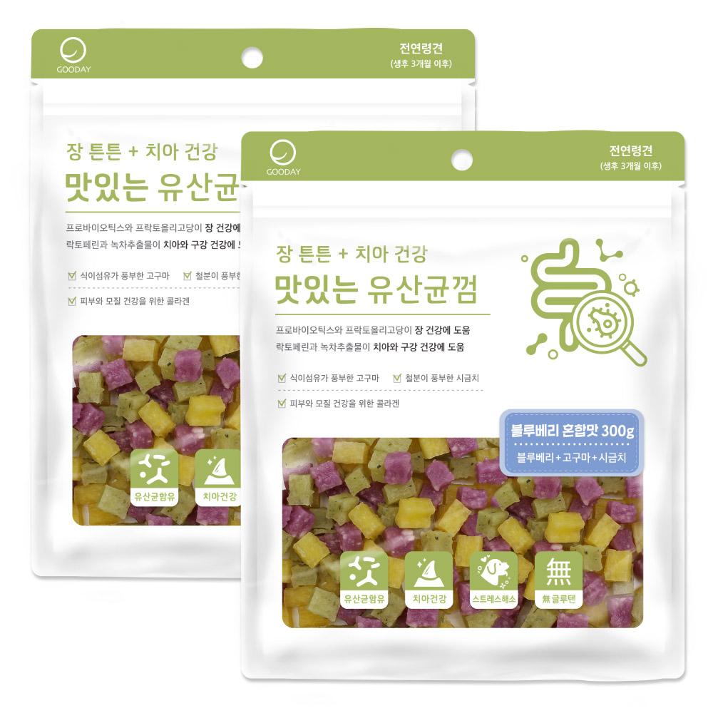 굿데이 맛있는 유산균 강아지간식, 블루베리혼합, 2개