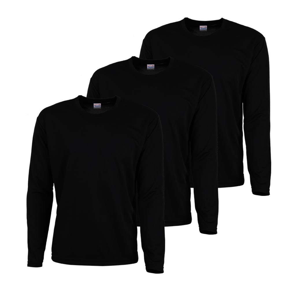 티팜 남성용 기능성 스포츠 긴팔라운드 티셔츠 3p