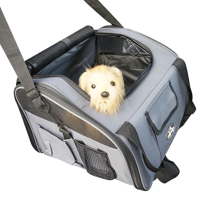 멍뭉스 자동차용 반려동물 카시트 겸용 수납가방, 그레이