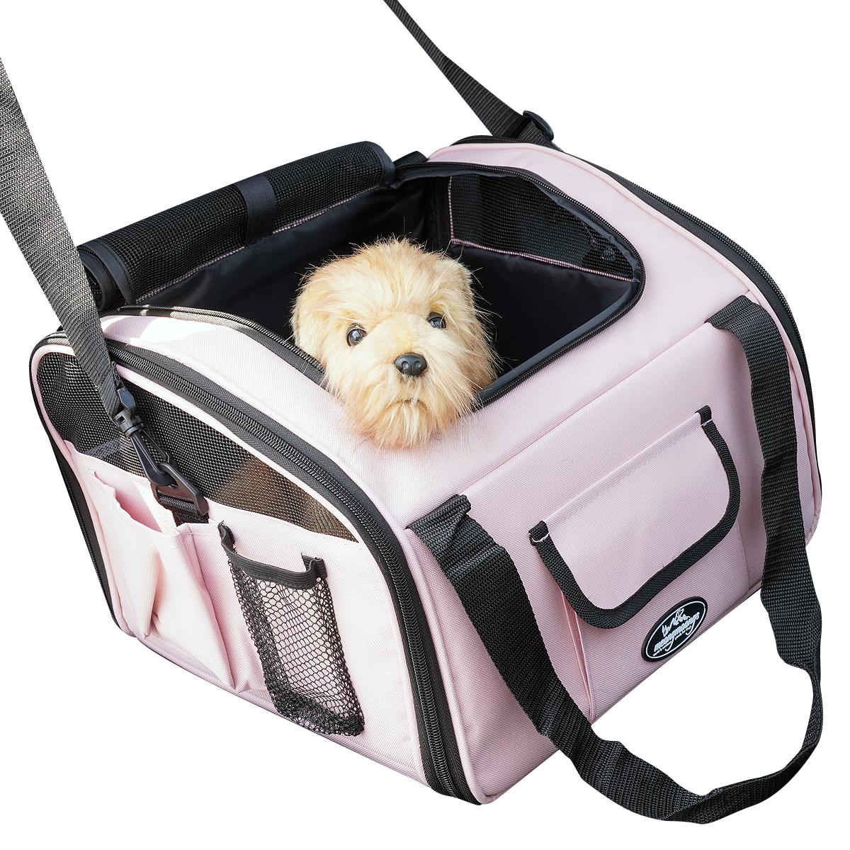멍뭉스 자동차용 반려동물 카시트 겸용 수납가방, 핑크