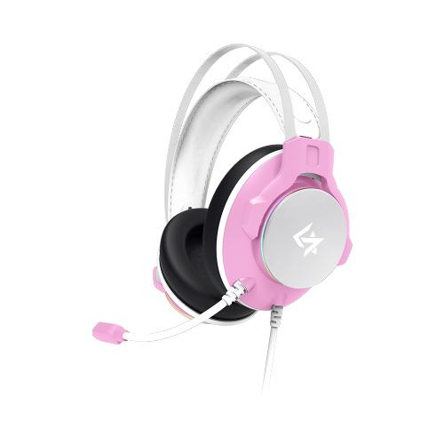 긱스타 가상 7.1 노이즈 캔슬링 진동 RGB LED 게이밍 헤드셋, 핑크, GH650