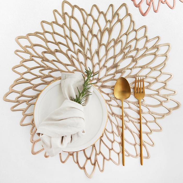 푸코 히비스커스 테이블매트 4p, 골드, 38 x 38 cm