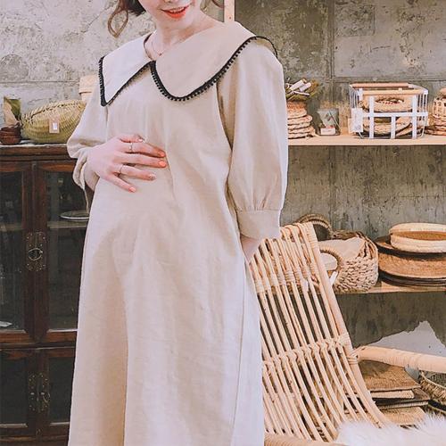 엠오엠 큐티카라 7부 임부복 원피스