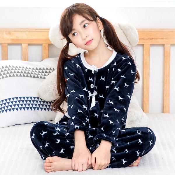 이라인 여아용 꼬마강아지 수면 잠옷