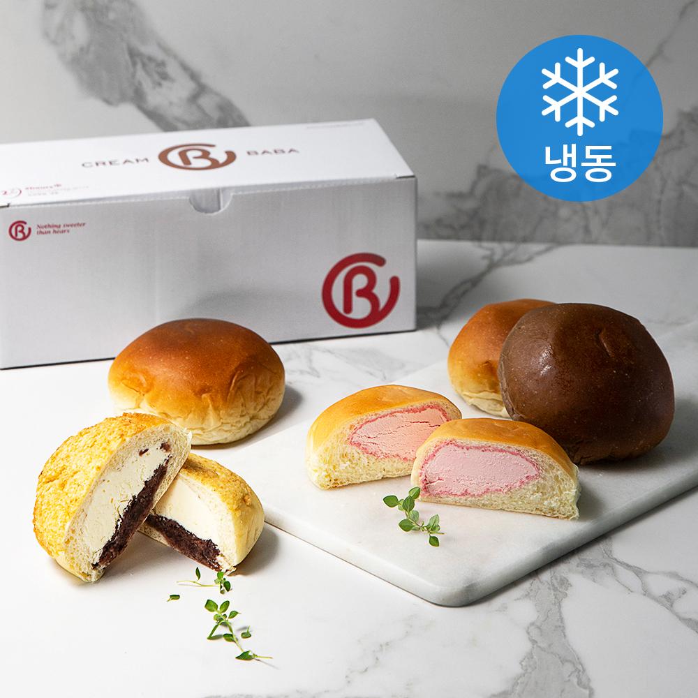크림바바 크림빵 5종 세트 커스터드 + 생크림 + 딸기 + 초코 + 팥소보루 (냉동), 1세트