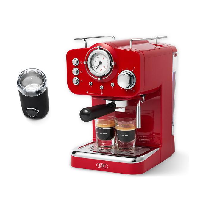 플랜잇 커피머신 홈카페 에디션 + 커피그라인더, PCM-F15R(빈티지레드)