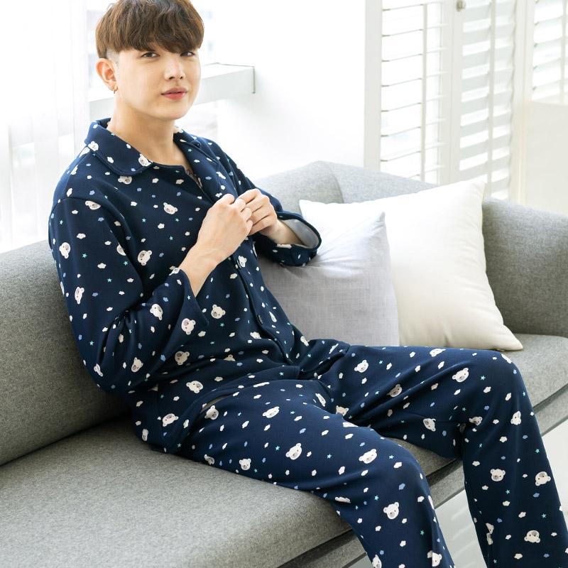 민트코코아 남성용 찡긋베어 수면잠옷 상하의 세트