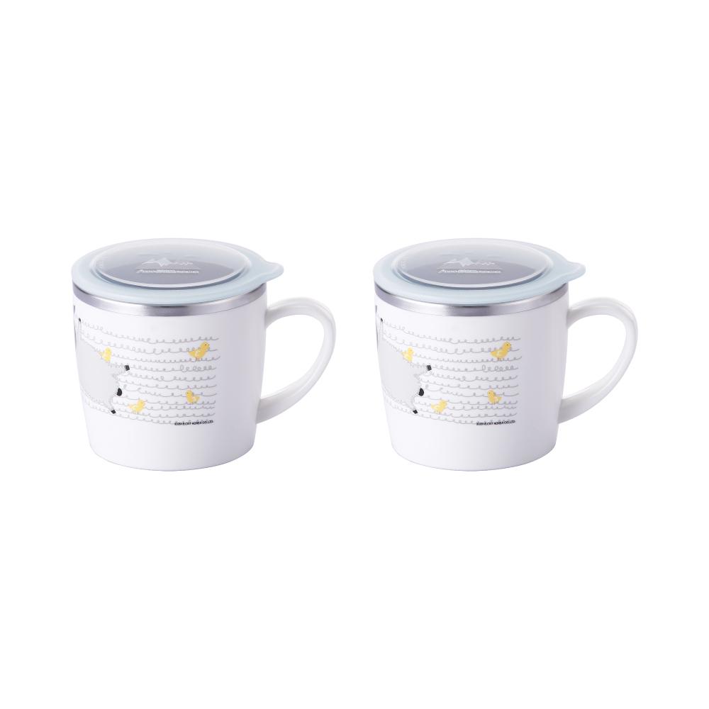 스텐락 알프스 팜 프랜즈 이중 컵 + 뚜껑, 혼합 색상, 2세트