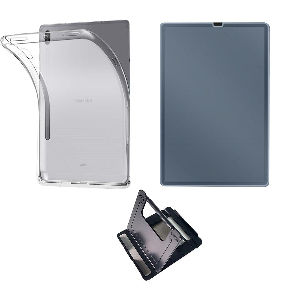 클렙튼 갤러시탭 S6 투명 TPU 젤케이스 + 방탄 강화유리 필름 + 태블릿 거치대 블랙 세트, 혼합 색상, 1세트