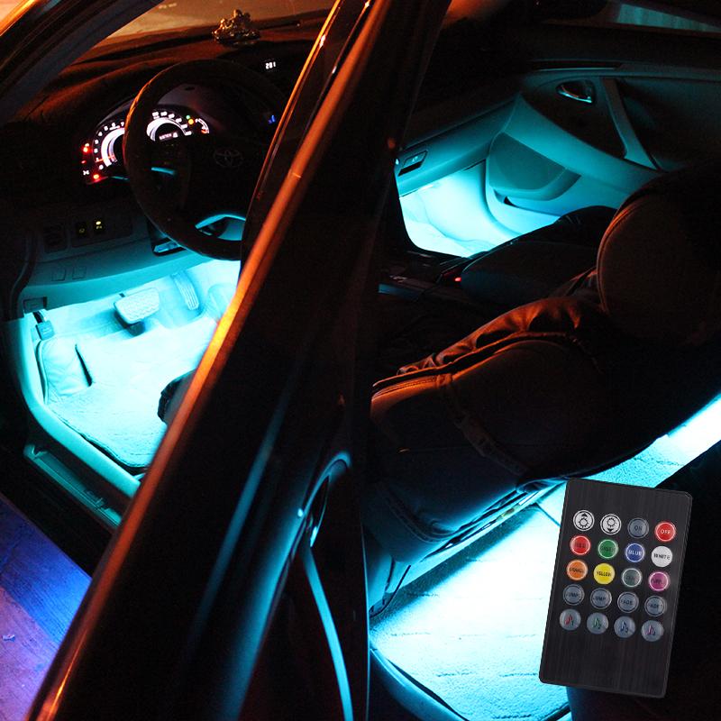 브릴리언트라이팅 2세대 RGB컬러4바 자동차 무드등 풋등, 혼합 색상, 1세트