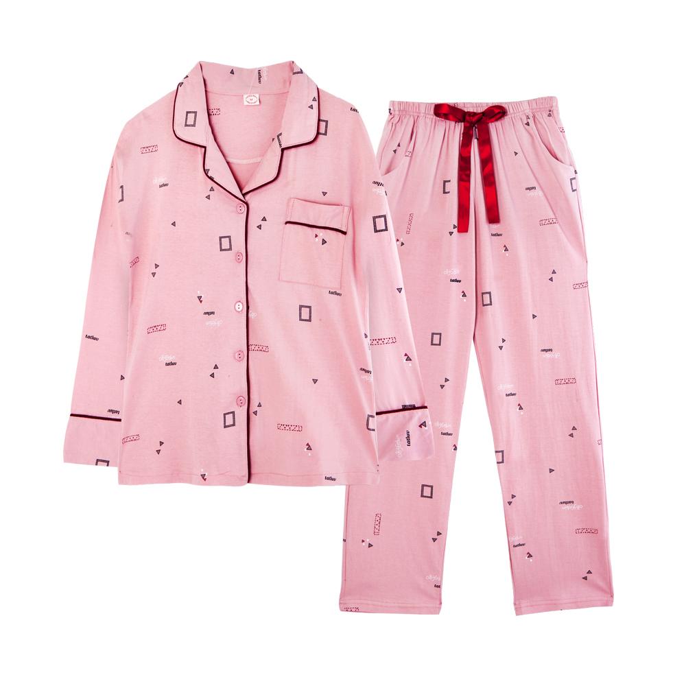 부드럽고 편안한 잔무늬 커플잠옷 세트