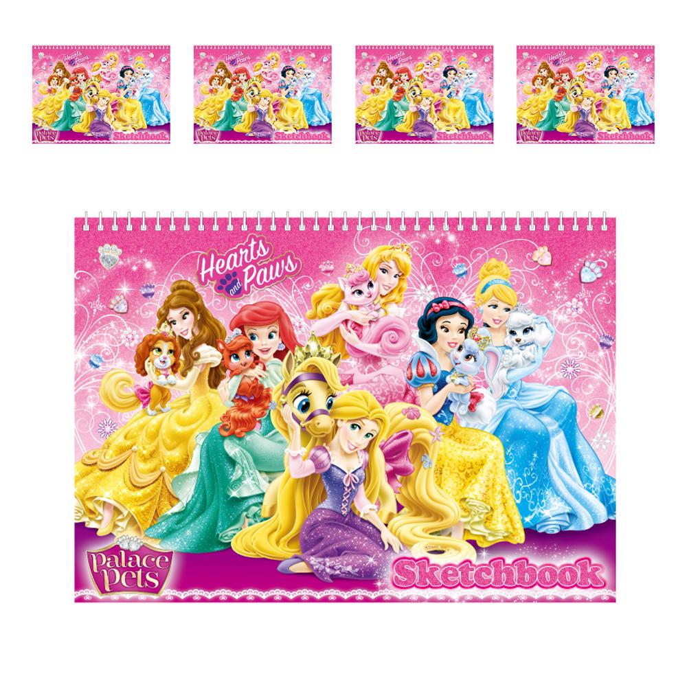 디즈니 프린세스 여아용 매수 많은 스케치북 5p 랜덤 발송, 345 x 250 mm, 18매