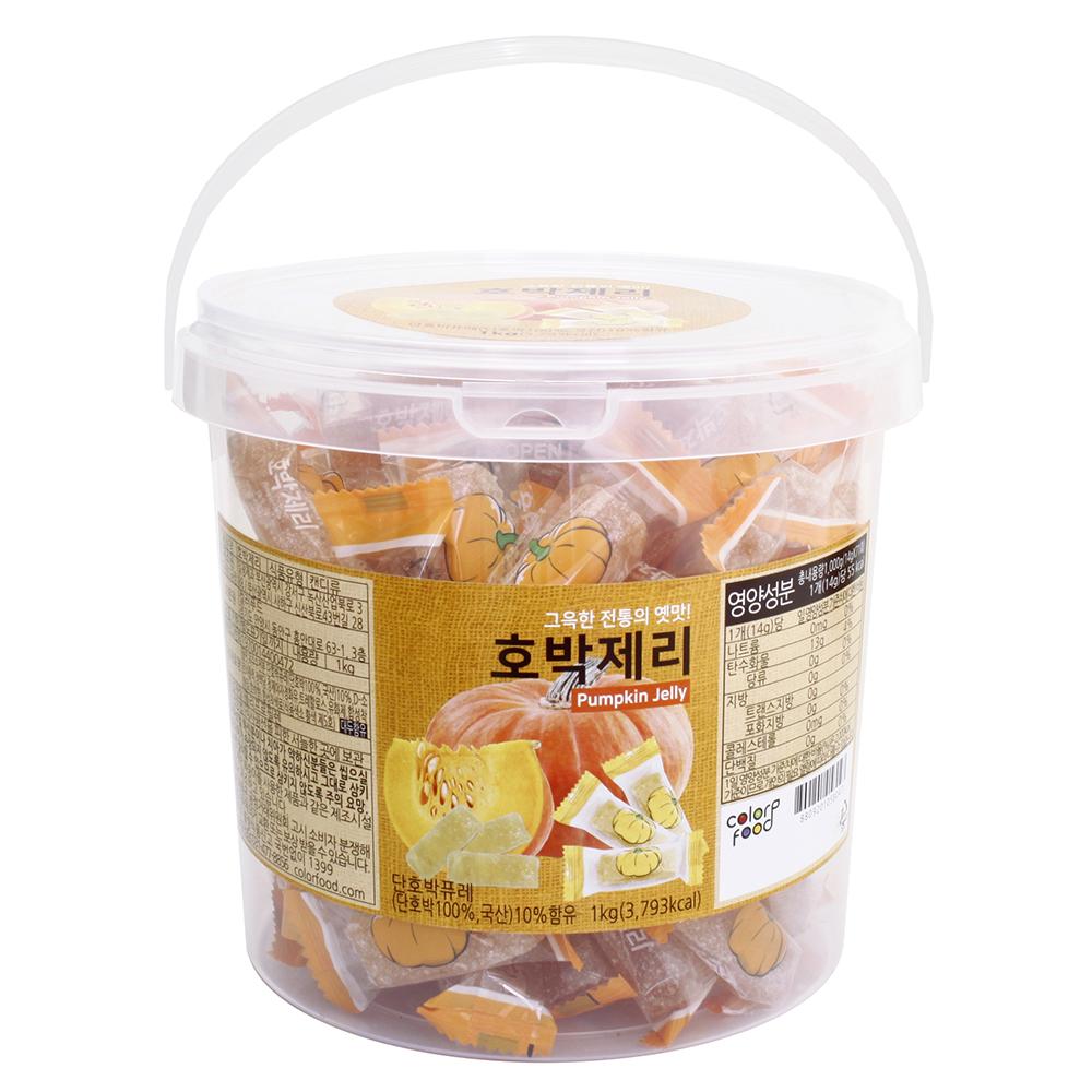 컬러푸드 호박제리 손잡이용기, 1kg, 1개