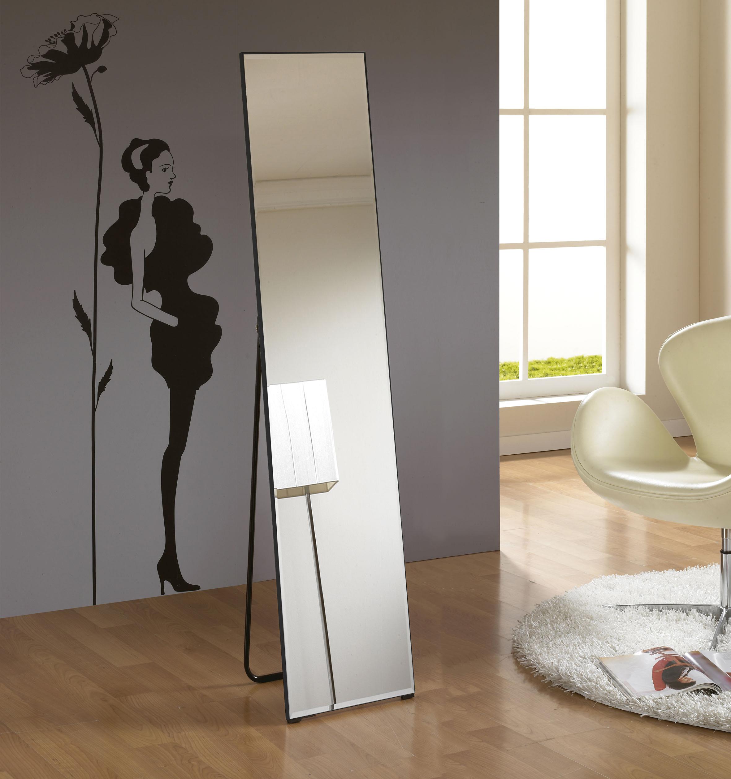 미소아이 심플 거치식 전신거울 300 x 1500 mm, 블랙