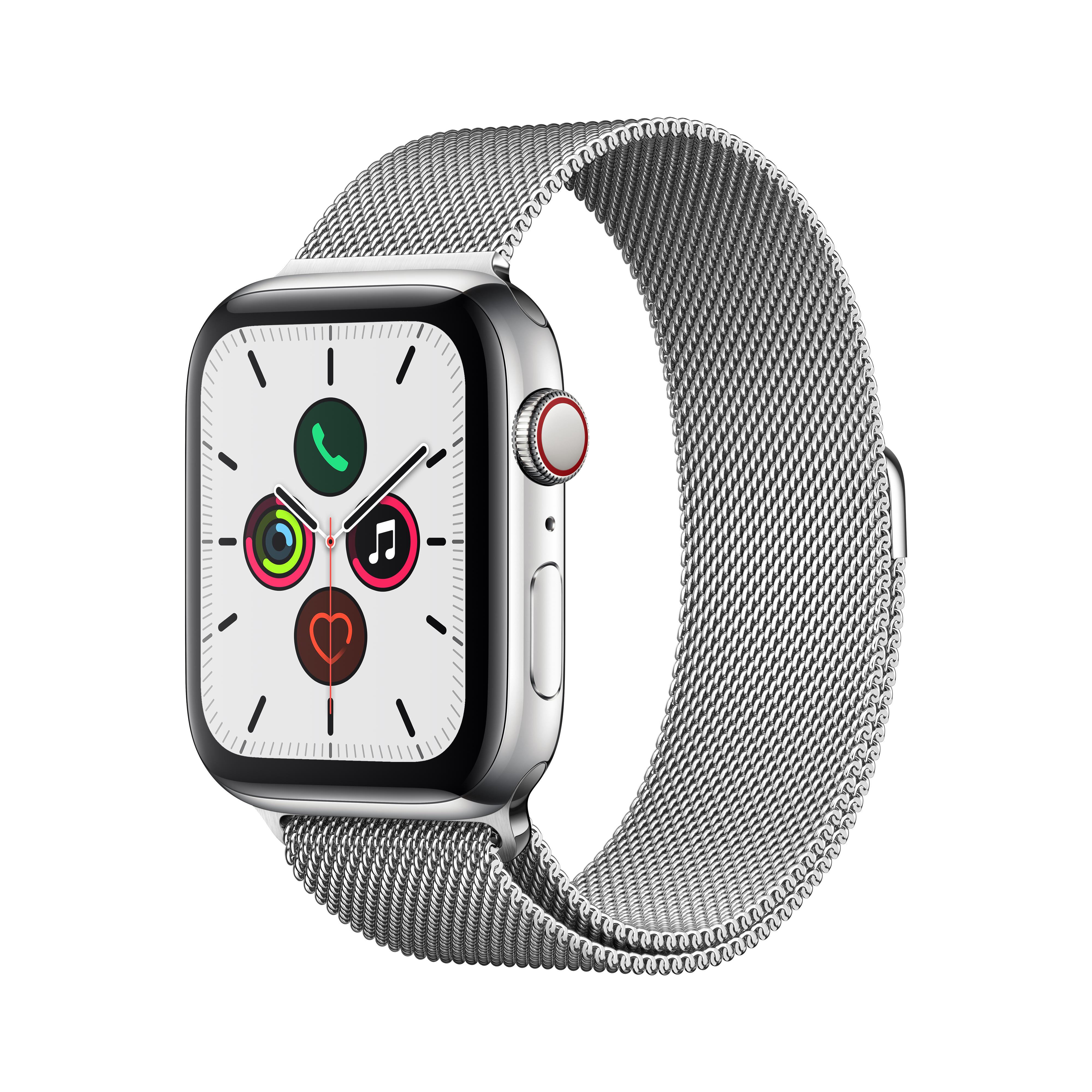 Apple 애플워치5 GPS + 셀룰러 44mm 밀레니즈 루프 + 스테인리스스틸 케이스, 스테인리스 스틸(MWWG2KH/A), 스테인리스 스틸(루프)