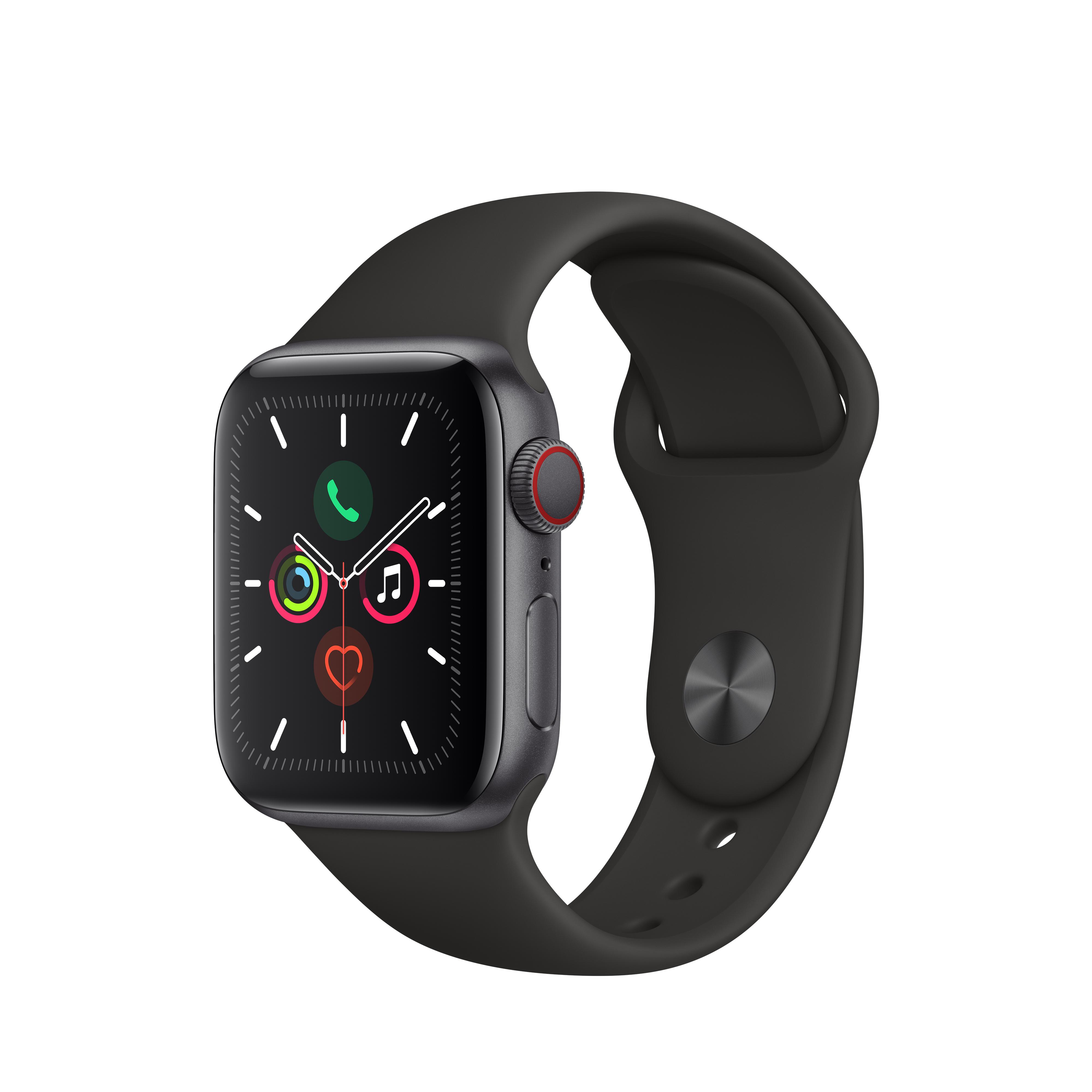 Apple 애플워치5 GPS + 셀룰러 40mm 스포츠밴드 + 알루미늄케이스, 스페이스 그레이(MWX32KH/A), 블랙(밴드)