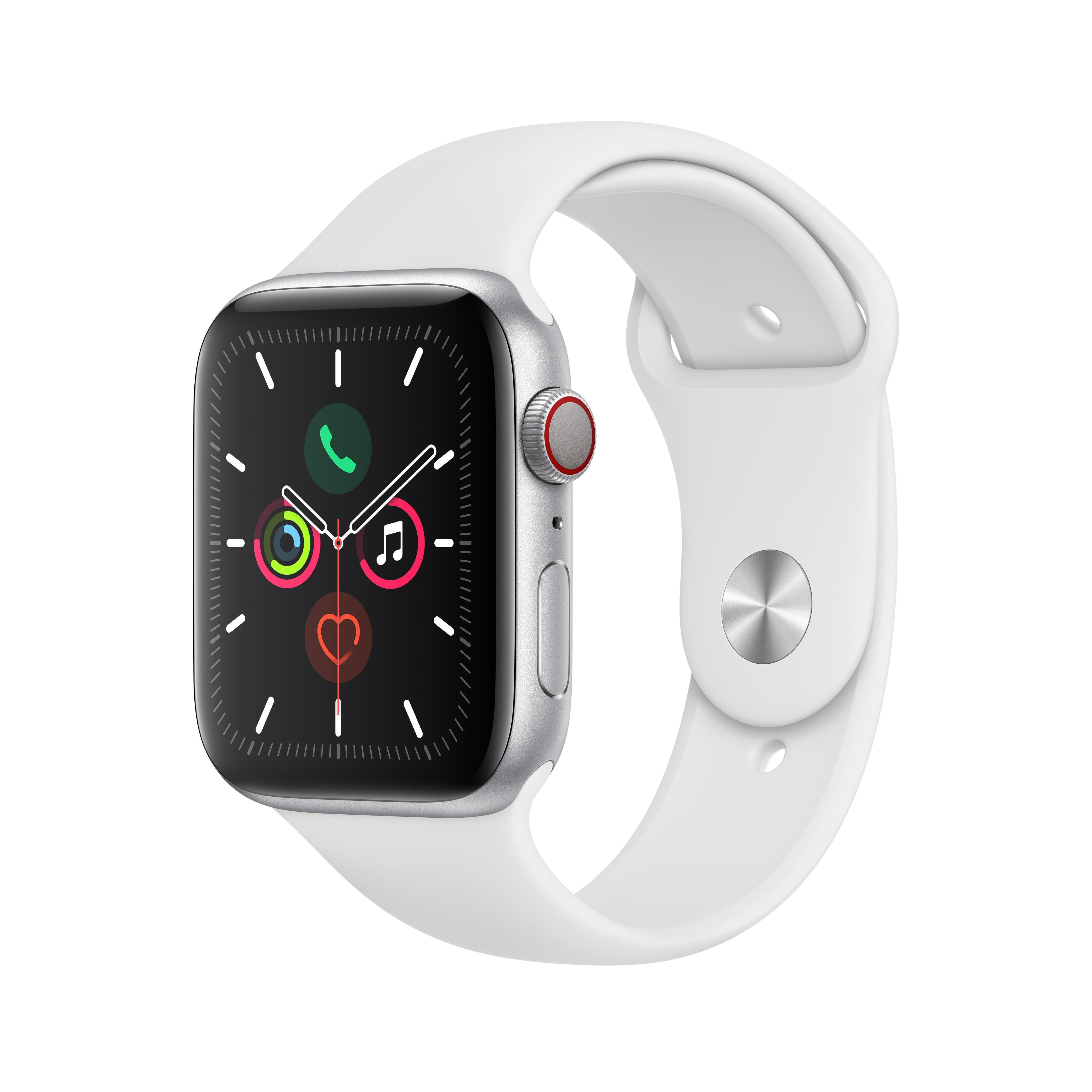 Apple 애플워치5 GPS + 셀룰러 44mm 스포츠밴드 + 알루미늄케이스, 실버(MWWC2KH/A), 화이트(밴드)