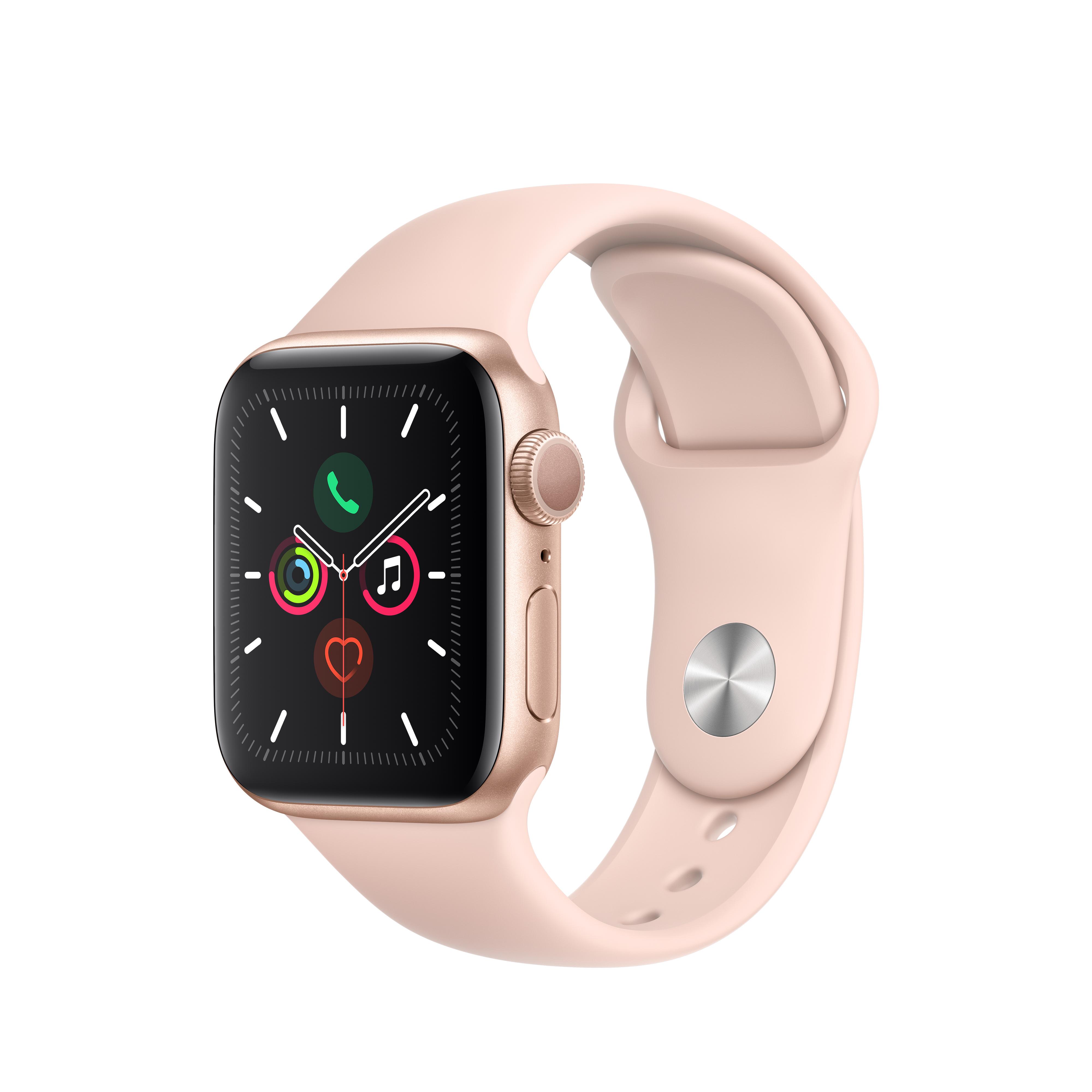 Apple 애플워치5 GPS 40mm 스포츠밴드 + 알루미늄케이스, 골드(MWV72KH/A), 핑크 샌드(밴드)