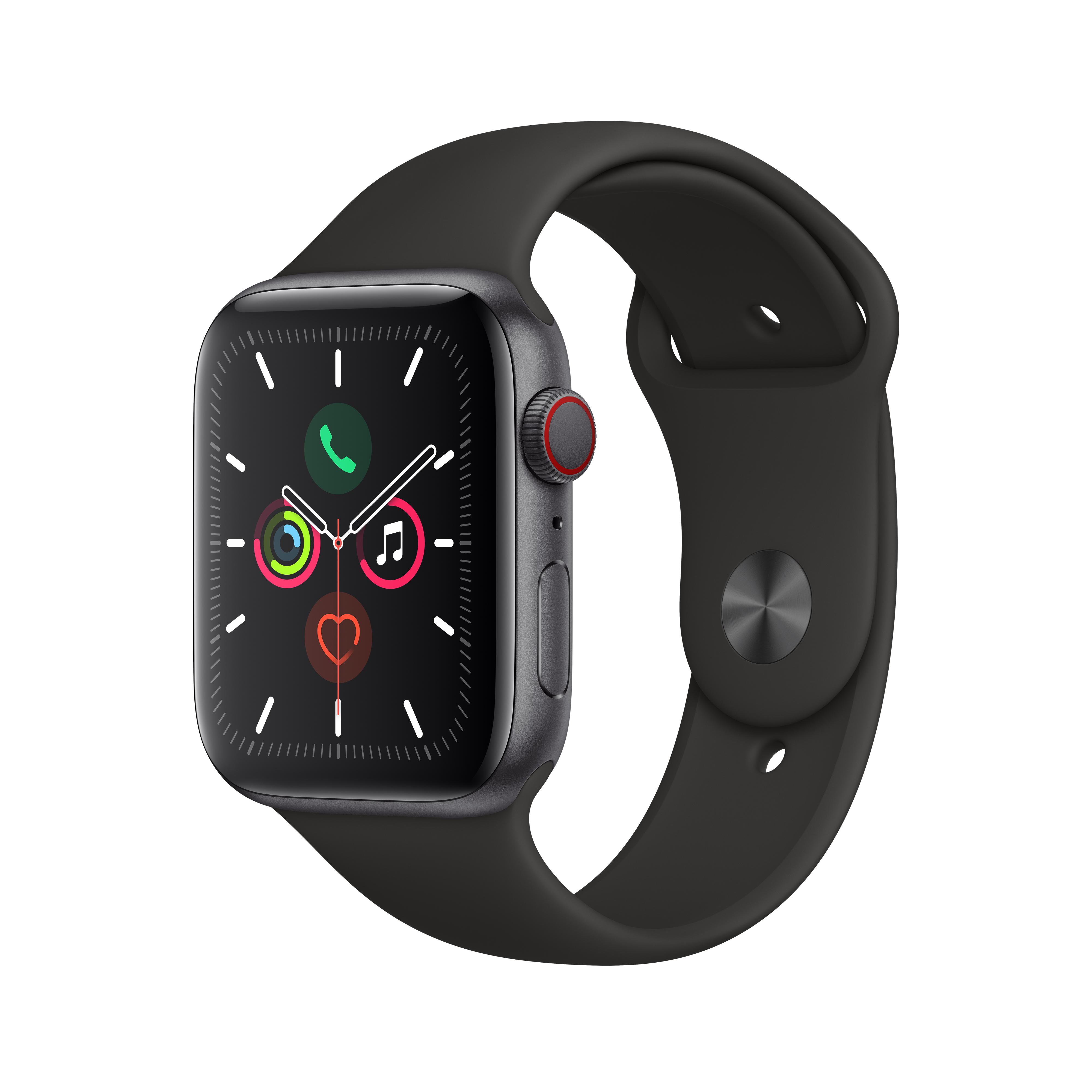 Apple 애플워치5 GPS + 셀룰러 44mm 스포츠밴드 + 알루미늄케이스, 스페이스 그레이(MWWE2KH/A), 블랙(밴드)