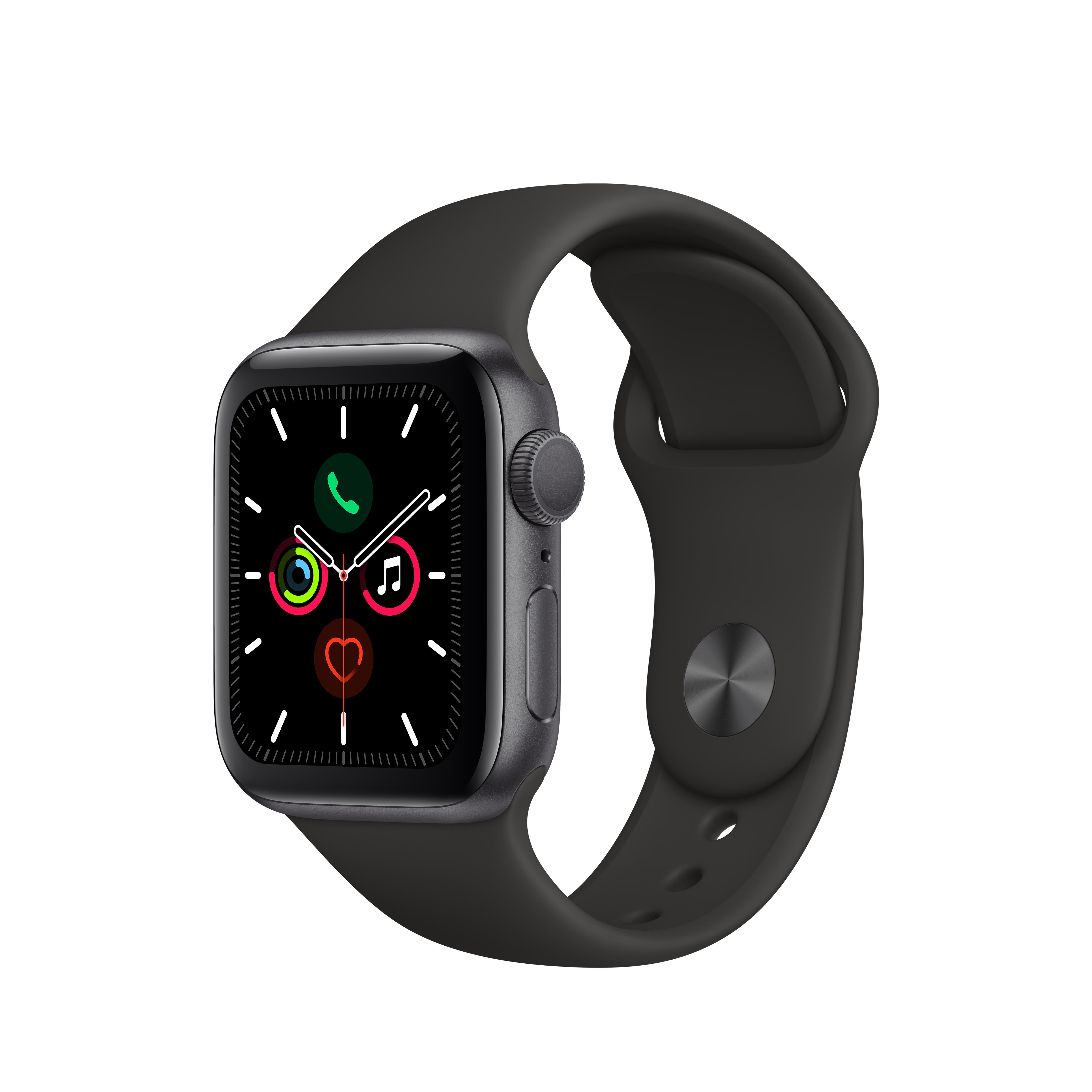 Apple 애플워치5 GPS 40mm 스포츠밴드 + 알루미늄케이스, 스페이스 그레이(MWV82KH/A), 블랙(밴드)