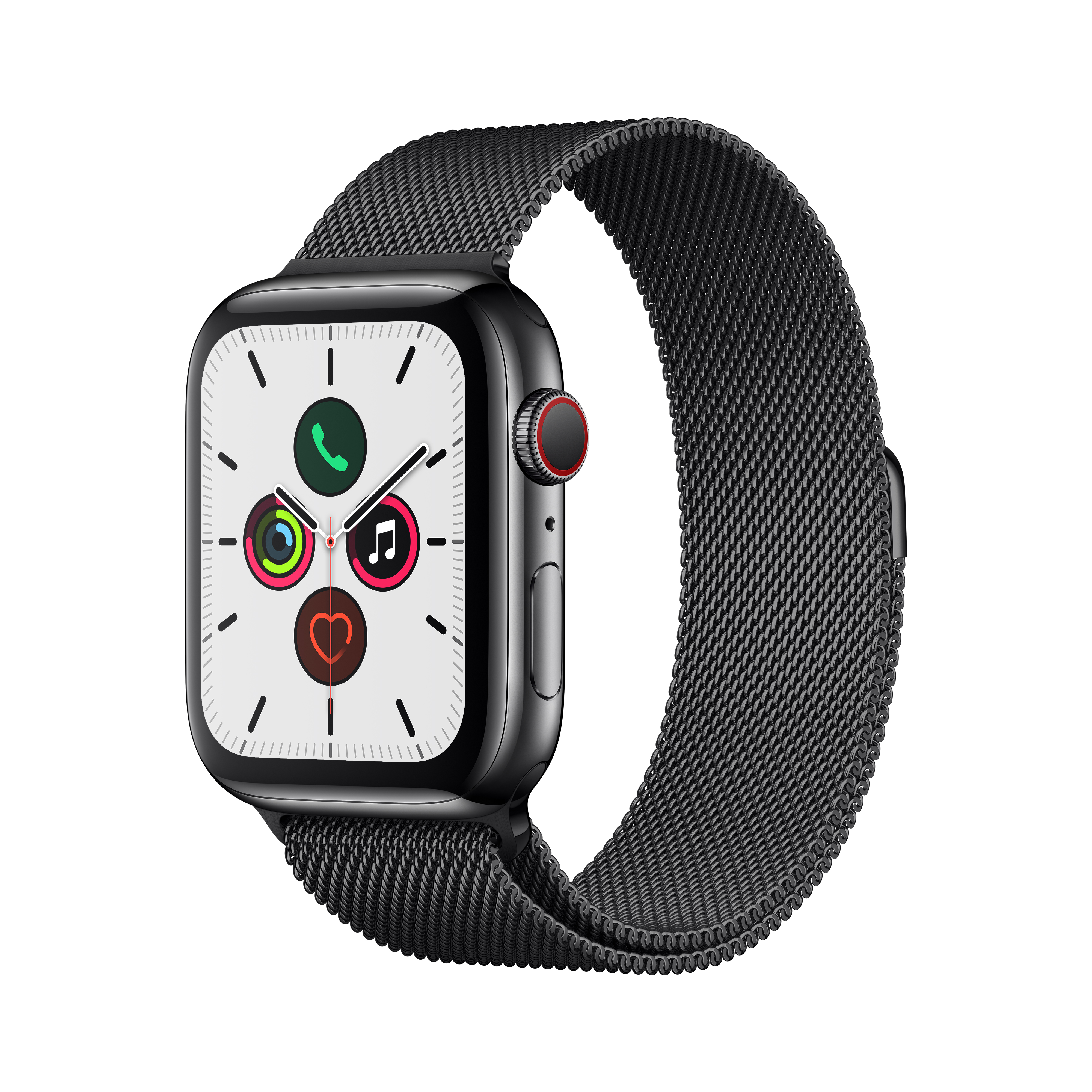 Apple 애플워치5 GPS + 셀룰러 44mm 밀레니즈 루프 + 스테인리스스틸 케이스, 스페이스 블랙(MWWL2KH/A), 스페이스 블랙(루프)