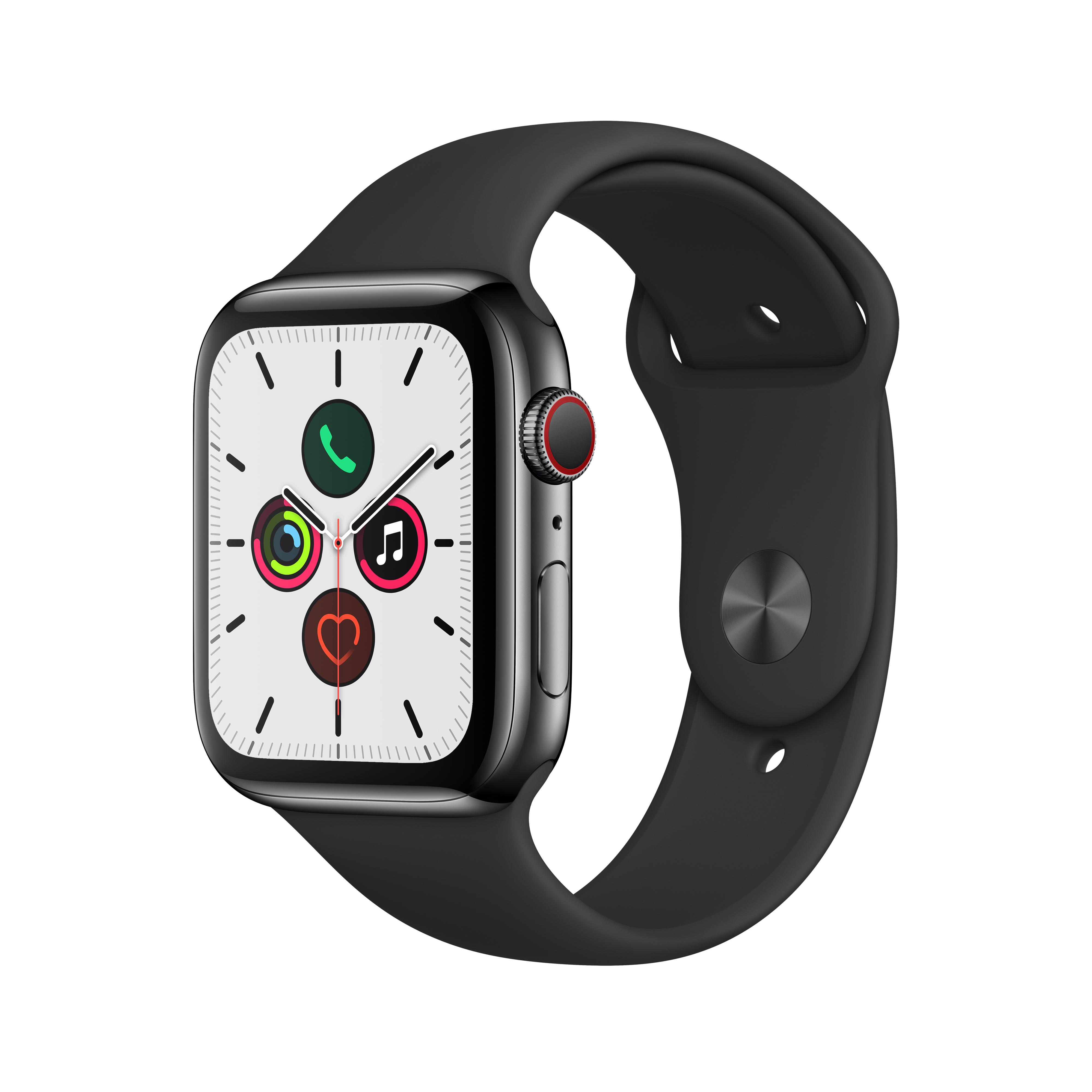 Apple 애플워치5 GPS + 셀룰러 44mm 스포츠밴드 + 스테인리스스틸 케이스, 스페이스 블랙(MWWK2KH/A), 블랙(밴드)
