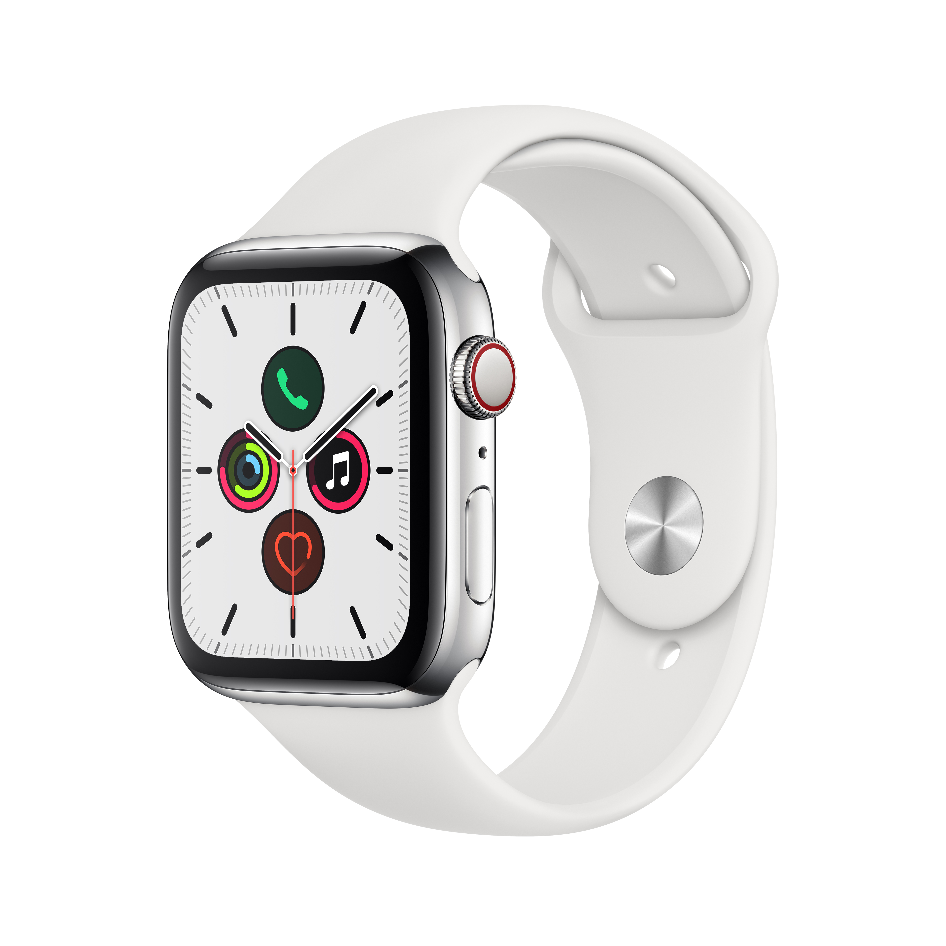 Apple 애플워치5 GPS + 셀룰러 44mm 스포츠밴드 + 스테인리스스틸 케이스, 스테인리스 스틸(MWWF2KH/A), 화이트(밴드)