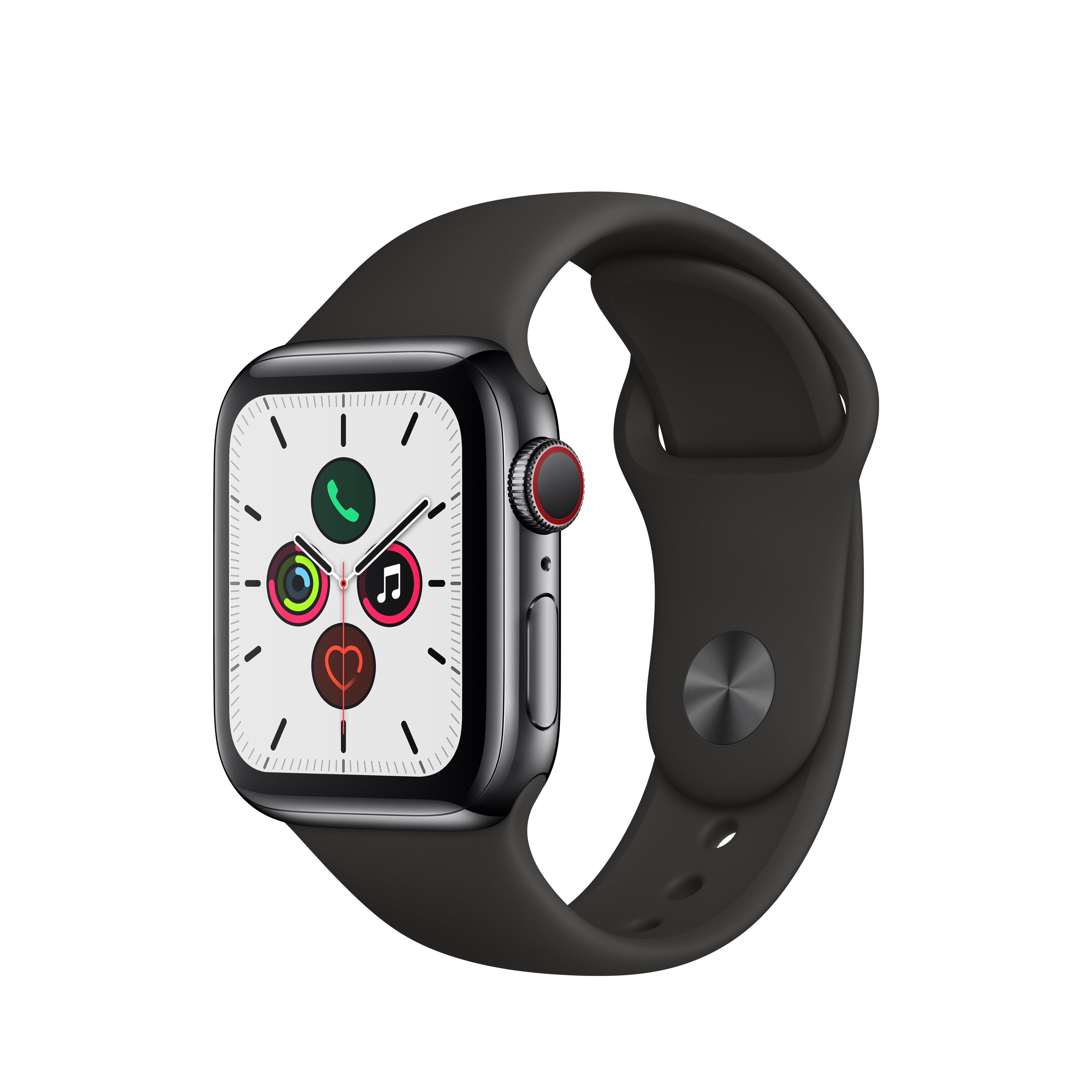 Apple 애플워치5 GPS + 셀룰러 40mm 스포츠밴드 + 스테인리스스틸 케이스, 블랙(MWX82KH/A), 블랙(밴드)
