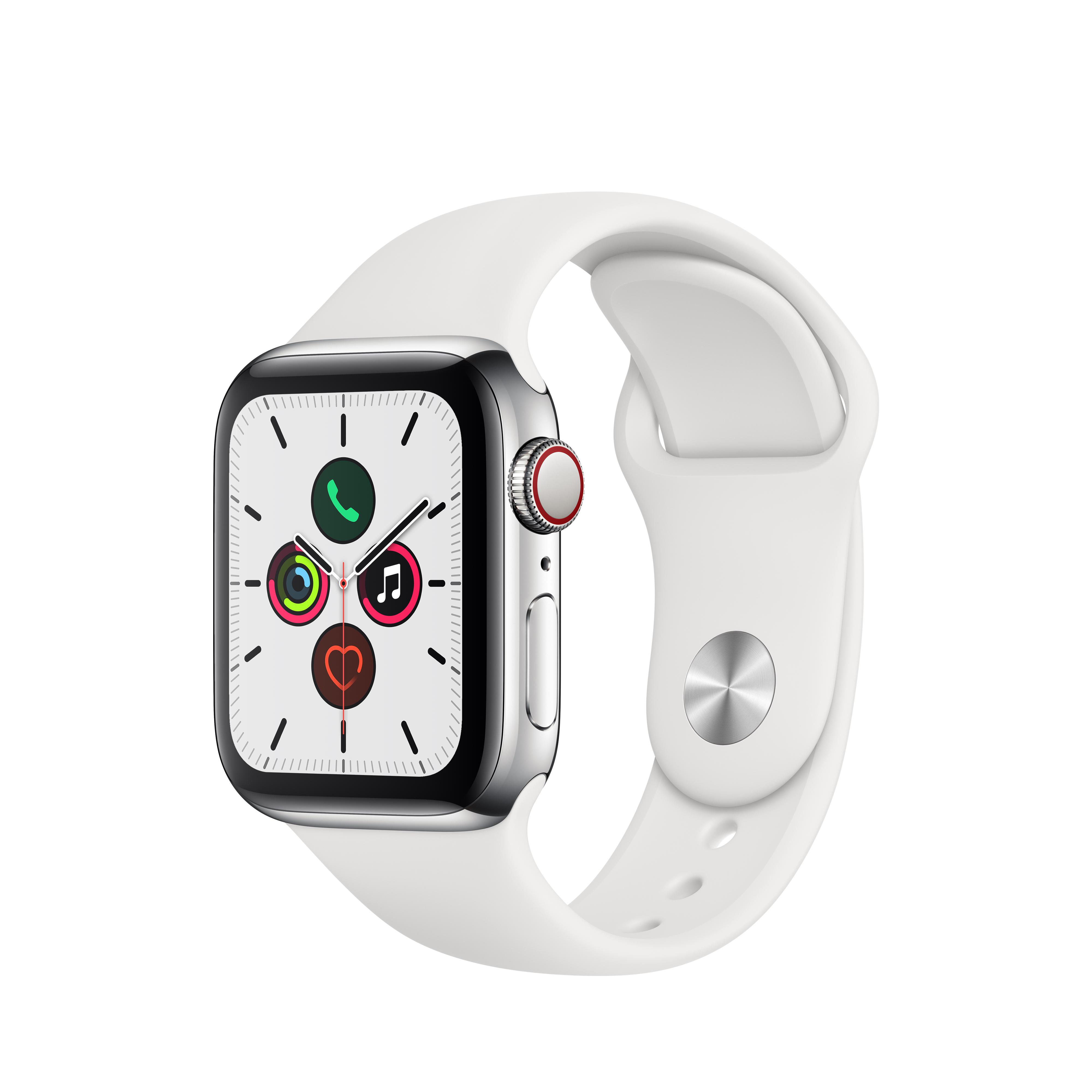 Apple 애플워치5 GPS + 셀룰러 40mm 스포츠밴드 + 스테인리스스틸 케이스, 스테인리스 스틸(MWX42KH/A), 화이트(밴드)