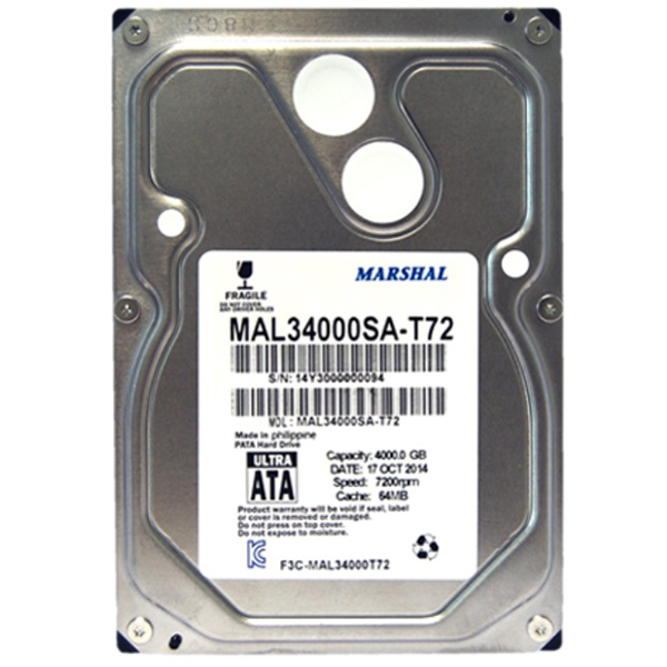 마샬 4TB 데스크탑HDD MAL34000SA-T72 SATA3 7200 64MB