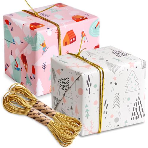 크리스마스 포장지 솜사탕 윈터 5p + 파스텔윈터 5p + 샌드골드 금사 2p, 혼합 색상, 1세트