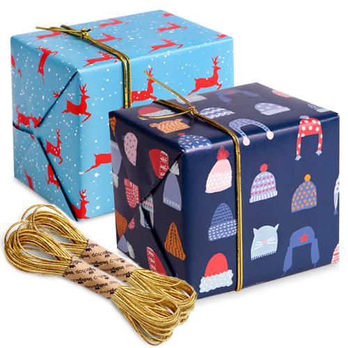 크리스마스 포장지 눈속의 순록 5p + 따뜻한 털모자 5p + 샌드골드 금사 2p, 혼합 색상, 1세트