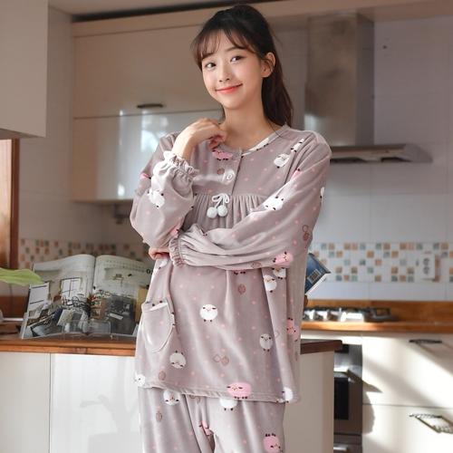 여성용 도트양 수면잠옷 상하의 세트