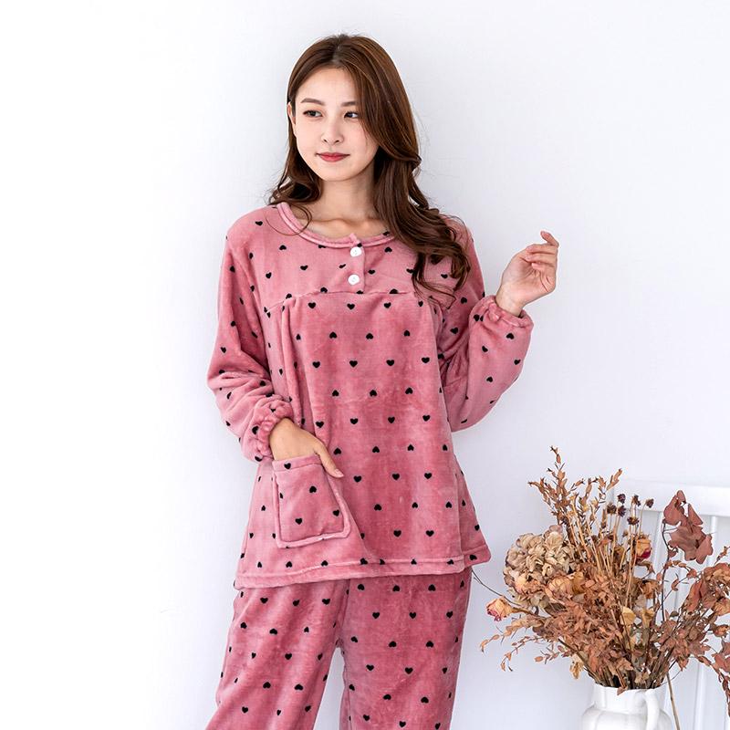 민트코코아 여성용 하트칩초코 인조밍크 수면잠옷 상하의 세트