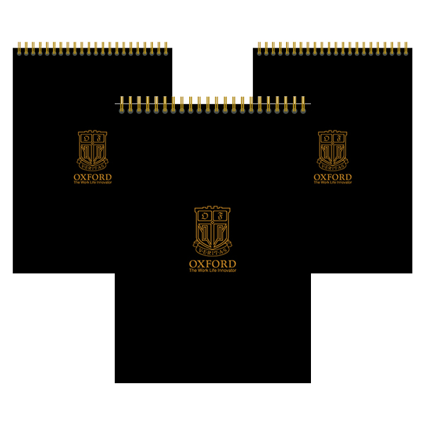 OXFORD 블랙PP A4 상철 80매 노트, 혼합 색상, 3개