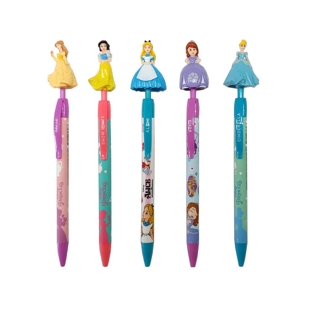 디즈니 캐릭터 마스코트 볼펜 5종 세트 C타입 0.5mm, 혼합 색상, 1세트