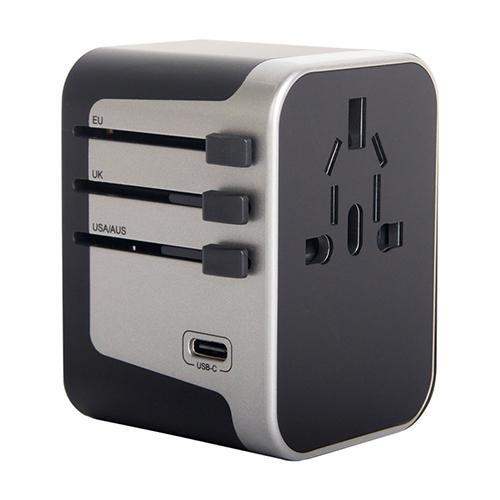 넥스원 최신형 해외여행 5포트 USB 5.6A 고속충전 멀티플러그 어댑터 실버, 1개