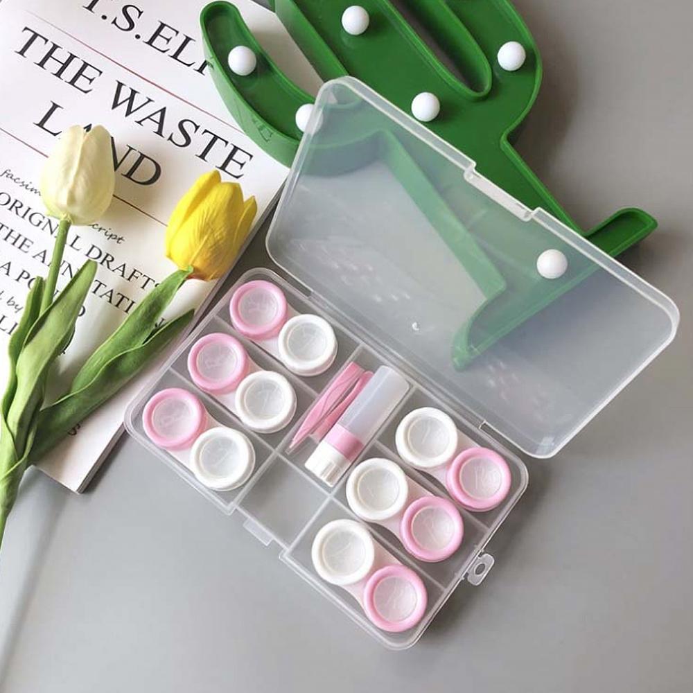 렌즈케이스 6p + 투명 정리함 세트, 핑크, 1세트