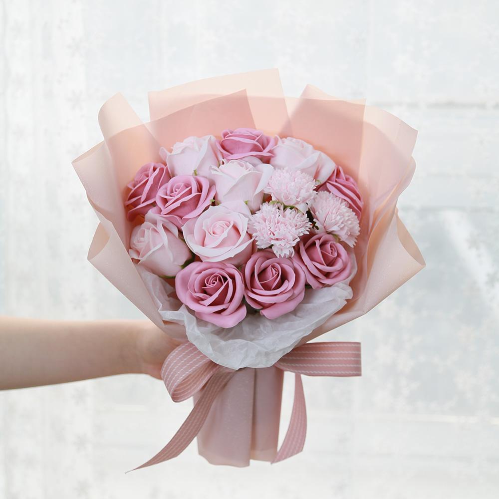 조아트 졸업 파스텔 비누 조화 꽃다발, 핑크