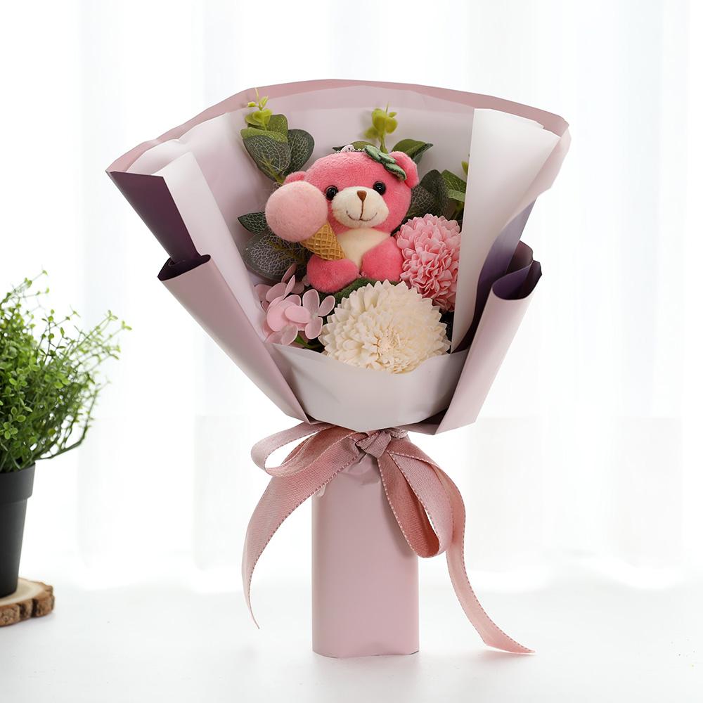 조아트 졸업 곰인형 조화 꽃다발, 핑크